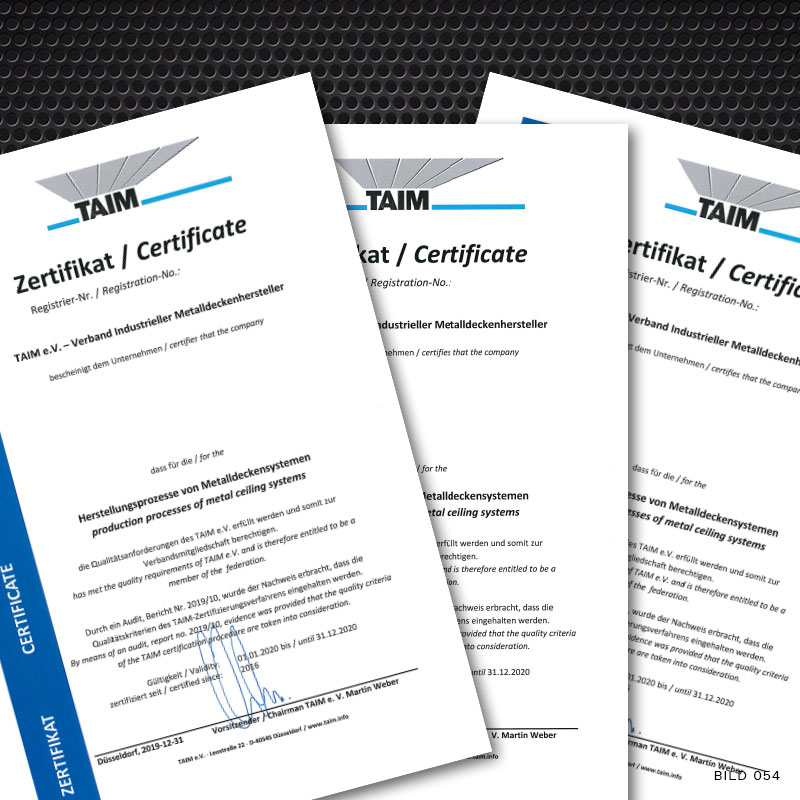 CERTIFICATION OF THE METAL CEILING MANUFACTURER